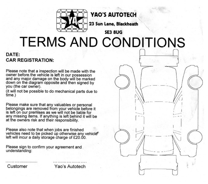 Mechanics terms and conditions - yaos autotech se london, blackheath car repair garage